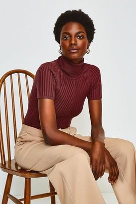 Karen Millen Roll Neck Rib Knitted Top