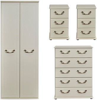 Swift Broadway Ready Assembled 4 Piece Package - 2 Door Wardrobe, 5 Drawer Chest and 2 Bedside Chests