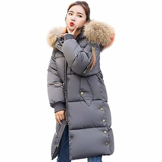 Celucke Womens Winter Warm Faux Fur Hooded Coat