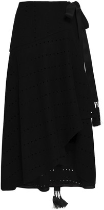 Amanda Wakeley Tasseled Laser-cut Wool-blend Midi Wrap Skirt