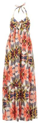 Le Sirenuse Le Sirenuse, Positano - Coralie Halterneck Diamond-print Cotton Maxi Dress - Womens - Pink Print