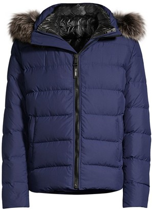 Yves Salomon Doudoune Fox Fur-Trim Technical Fabric Puffer Coat