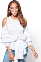New York & Co. Ruffled Cold-Shoulder Poplin Shirt