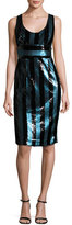 Milly Veronica Sleeveless Striped Sequin Cocktail Dress, Blue/Black