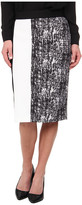 Vince Camuto Texture Etching Pencil Skirt w/ White Trim