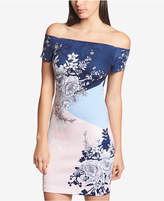 GUESS Printed Off-The-Shoulder Bodycon Dress