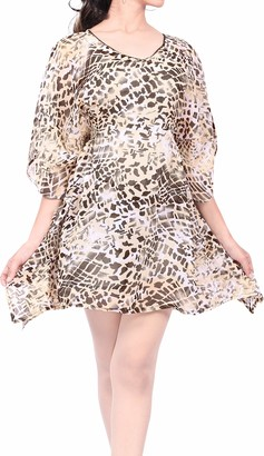 LA LEELA Swimsuit Cover Up Dress for Women Chiffon Kimono Beach Coverup Kaftan Mustard_E696 UK: 12(M)-16(L)