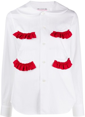 Comme des Garcons Long Sleeve Ruffle Trim Shirt