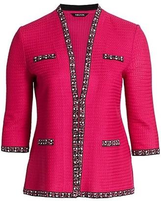 Misook, Plus Size Faux Pearl-Trim Textured Knit Jacket