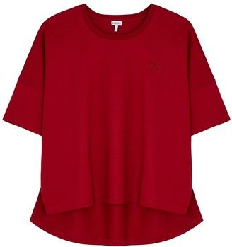 Loewe Red Logo-embroidered Cotton T-shirt