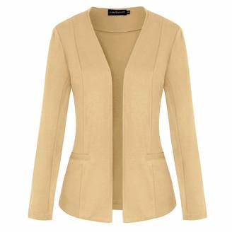 MINTLIMIT Womens Casual Work Office Blazer Open Front Long Sleeve Cardigan Jacket(Black Size S)