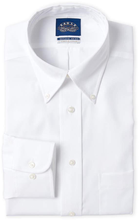 Eagle White Solid Regular Fit Dress Shirt