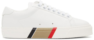 Burberry White Bio-Based Striped Sole Sneakers