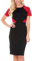 Stanzino Burgundy Color Block Short-Sleeve Sheath Dress