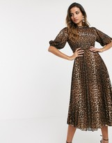 Asos Design DESIGN high neck pleated midi dress with puff sleeve in leopard print