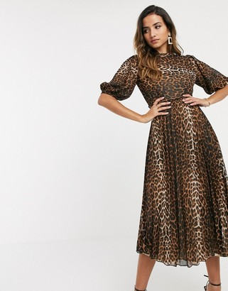 Asos DESIGN high neck pleated midi dress with puff sleeve in leopard print