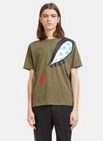 J.w. Anderson Men's Doll Eye Print T-shirt In Khaki