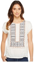 Lucky Brand Embroidered Mix Top Women's Short Sleeve Pullover