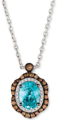 LeVian Le Vian Blueberry Zircon (1-9/10 ct. t.w.), Vanilla Diamonds (1/8 ct. t.w.) & Chocolate Diamonds (1/3 ct. t.w.) Pendant Neckace in 14k White Gold