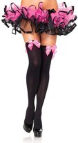 Rokou Women's Opaque Thigh High Top Stockings with Satin Bow Bowknot