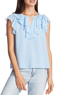 1 STATE Ruffled Keyhole Top