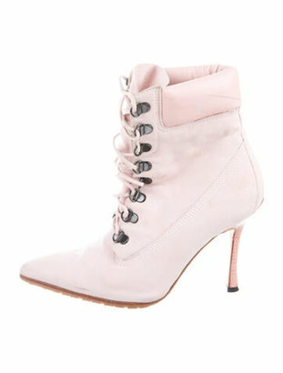 Manolo Blahnik Suede Lace-Up Boots Pink