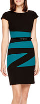 JCPenney Alyx Cap-Sleeve Colorblock Sheath Dress