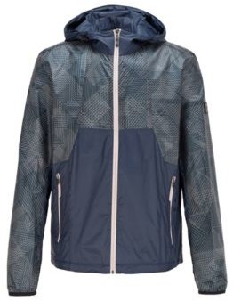 HUGO BOSS Water Repellent Hooded Jacket With Geometric Print Ripstop Fabric - Dark Blue