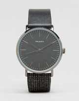 Asos Watch With Tweed Strap In Charcoal