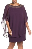 Xscape Evenings Embellished Chiffon Overlay Jersey Sheath Dress (Plus Size)