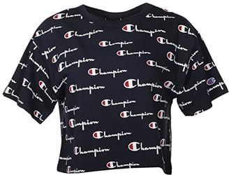 Champion Heritage Crop Tee - Multi Script (Navy Multi) Women's Clothing