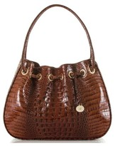 Brahmin Amy Embossed Leather Drawstring Bucket Bag - Brown