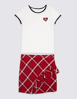 Marks and Spencer 2 Piece Pure Cotton T-Shirt with Skirt Outfit (3-14 Years)