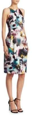 ML Monique Lhuillier Keyhole Back Floral-Print Dress