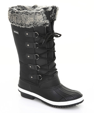Sand Storm Women's Cold Weather Boots Black - Black Faux Fur-Trim Duck Boot - Women