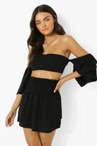 Thumbnail for your product : boohoo Linen Look Bardot Crop And Ruffle Mini