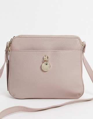 Paul Costelloe cross body bag with clasp detail in grey