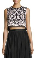Needle & Thread Prairie Floral Embroidered Crop Top, Black