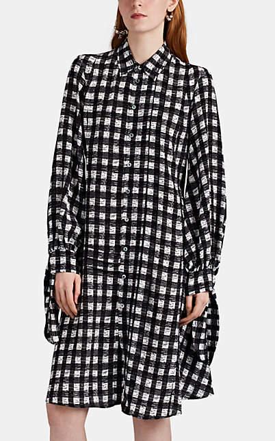 Derek Lam Women's Graphic-Checked Silk Shirtdress - Black-White