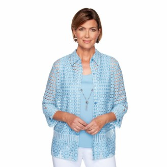 Alfred Dunner Women's Floral Pattern Two FER 3/4 Sleeve TOP Blouse
