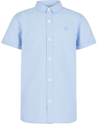 River Island Boys blue short sleeve twill shirt