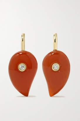 Yvonne Léon 9-karat Gold, Agate And Diamond Earrings - one size