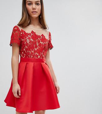 Little Mistress Petite Lace Top Mini Prom Dress-Red