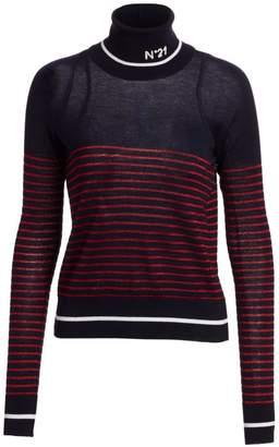 No.21 No. 21 Metallic Striped Virgin Wool Turtleneck Sweater