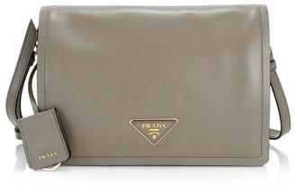 Prada Large Glace Leather Messenger Bag