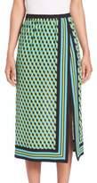 Michael Kors Cube-Print Silk Scarf Skirt