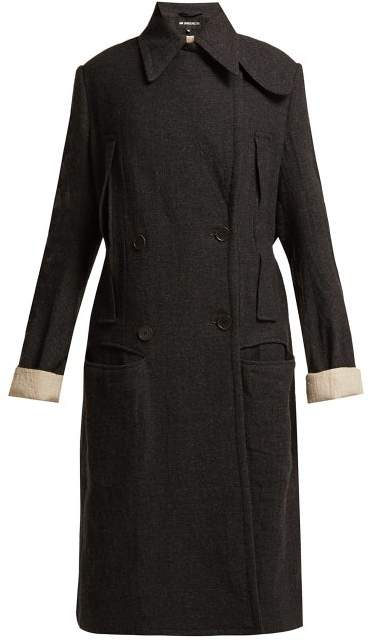 Ann Demeulemeester Oversized Double Breasted Coat - Womens - Grey Multi