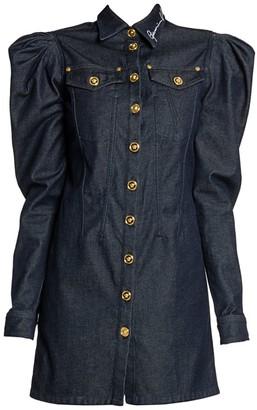 Versace Denim Puff-Sleeve Shirtdress