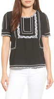 Caslon Embroidered Popover Top (Regular & Petite)
