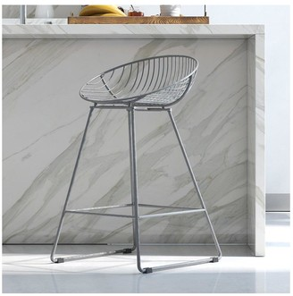 Cosmoliving Ellis Wire Bar Stool-Grey